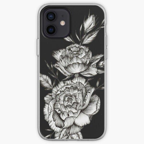 Blackwork Peony iPhone Soft Case