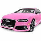 Pink 2016 Audi RS 7 Prestige Quattro Sedan luxury car art photo print by ArtNudePhotos