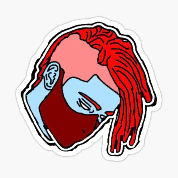 masked boy with red braids Sticker