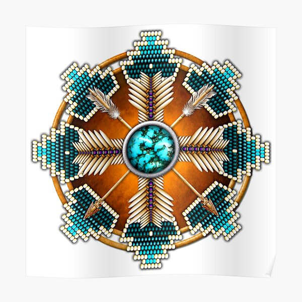 Turquoise Native American Style Mandala Poster
