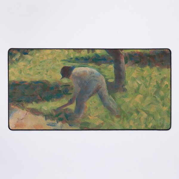 Peasant with a Hoe Oil Painting by Georges Seurat Desk Mat
