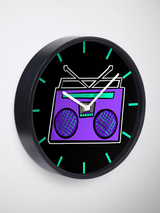 Alternate view of Purple Boombox Clock