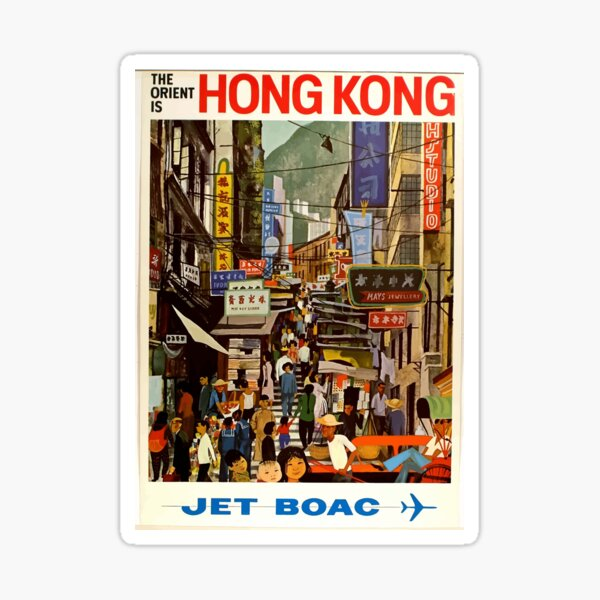 Vintage Airline Hong Kong China Travel Sticker