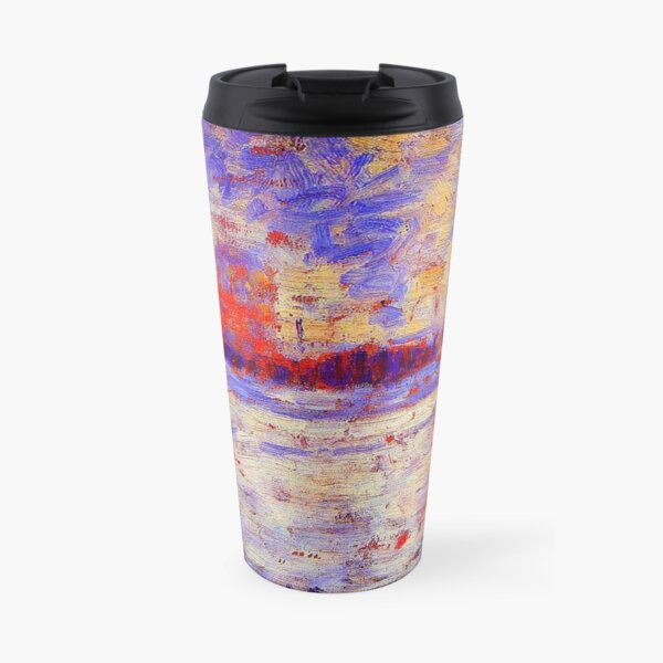 """""""Snow Effect - Winter in the Suburbs"""" by Georges Seurat (circa 1883) TECHNICOLOR REMASTERED Travel Mug"""