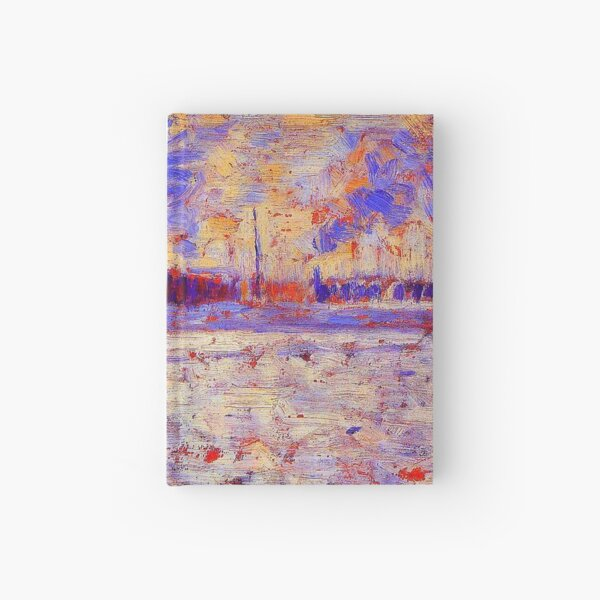"""""""Snow Effect - Winter in the Suburbs"""" by Georges Seurat (circa 1883) TECHNICOLOR REMASTERED Hardcover Journal"""