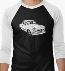 1950  Ford Custom Antique Car Illustration Men's Baseball ¾ T-Shirt