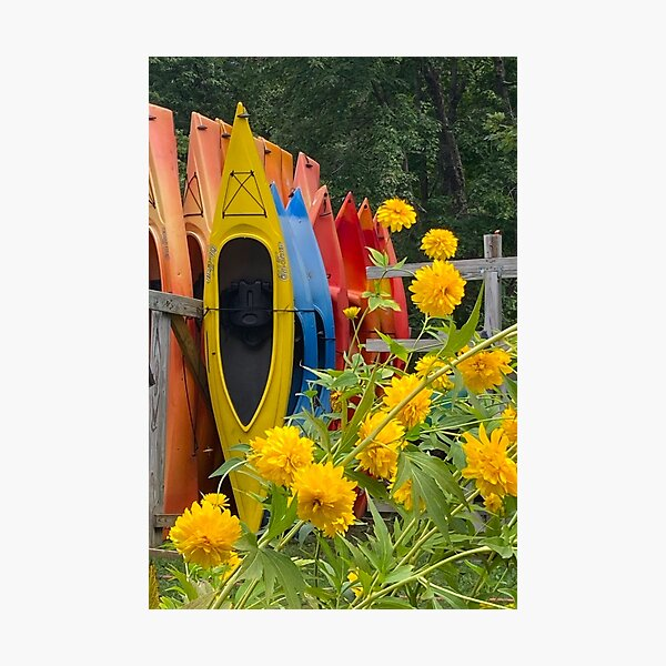Colorful Canoe Stack Photographic Print
