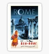 Vintage Airline Rome Italy Travel Sticker