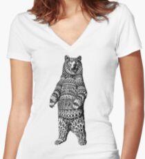 Camiseta entallada de cuello en V Ornate Grizzly Bear