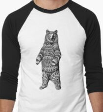 Camiseta ¾ bicolor para hombre Ornate Grizzly Bear