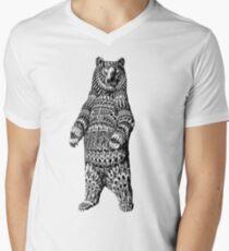 Ornate Grizzly Bear Men's V-Neck T-Shirt
