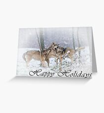 Timber Wolf Holiday Card - 14 Greeting Card