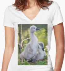 Cute Cygnet Women's Fitted V-Neck T-Shirt