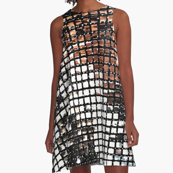 disco silver glitter sequin design A-Line Dress