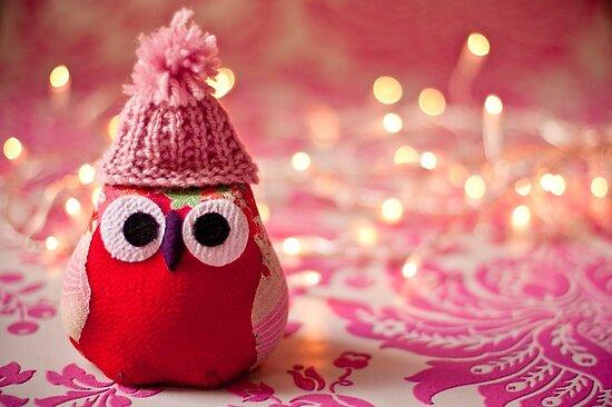 Winter owl in woolly hat  by Zoe Power