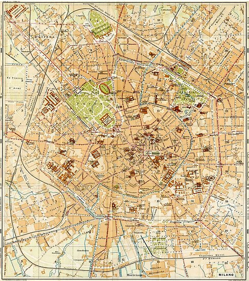 Vintage Map of Milan Italy (1914)\