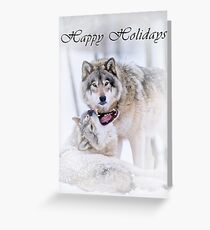 Timber Wolf Holiday Card - 16 Greeting Card