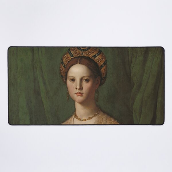 A Young Woman and Her Little Boy Oil Painting by Agnolo Bronzino Desk Mat