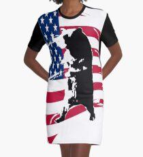 pedals the walking bear amerian flag Graphic T-Shirt Dress