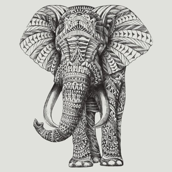 79fd7663802e1 TShirtGifter presents  Ornate Elephant