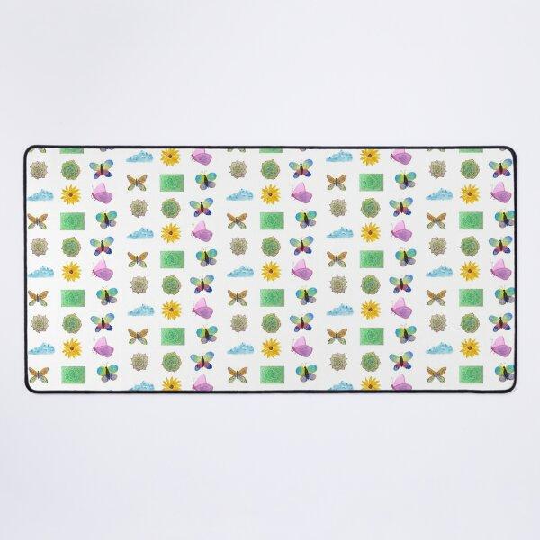 Watercolor Flowers Butterflies Cloud Desk Mat