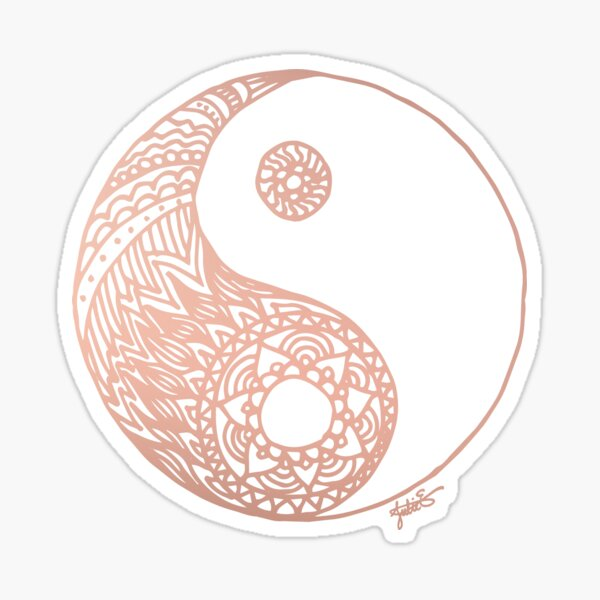 Rose Gold Yin Yang Sticker