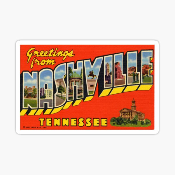 Nashville Postcard Sticker Sticker