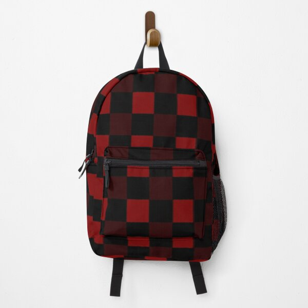 Red And Black Weave Pattern Backpack