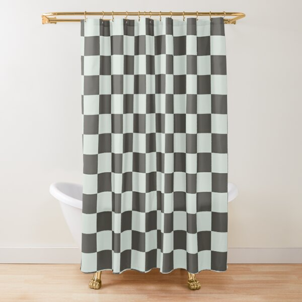 Pale Green And Brown Checks Shower Curtain