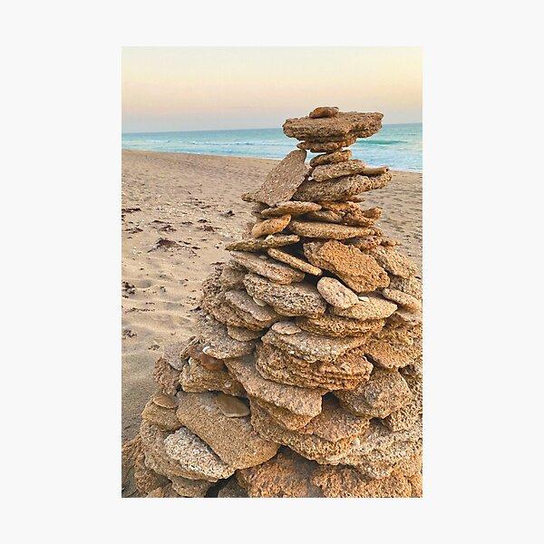 Rock Pile On Beach Photographic Print