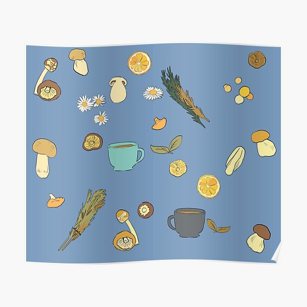 Mushroom, tea, and herb pattern (Blue background) Poster