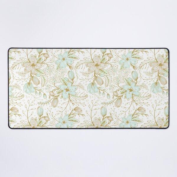 Minty Gold Floral  Desk Mat