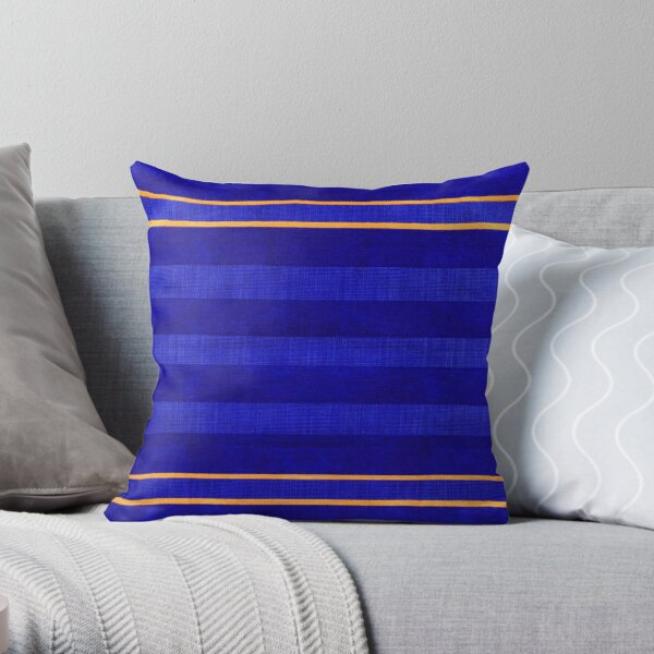 Calm Lined Blue and Yellow Fabric Velvet Style Throw Pillow