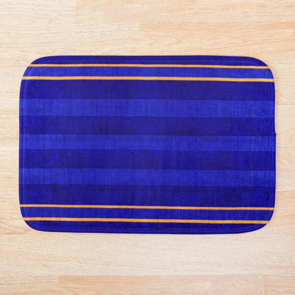 Calm Lined Blue and Yellow Fabric Velvet Style Bath Mat