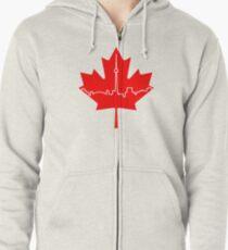 Maple Leaf Skyline - Canada Zipped Hoodie