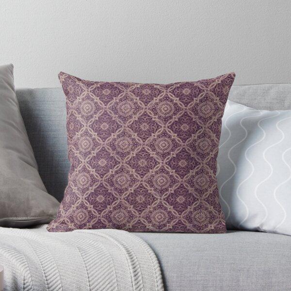 Plum Purple Portuguese Tile Pattern Throw Pillow