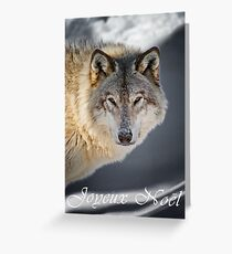 Timber Wolf Christmas Card - French - 22 Greeting Card