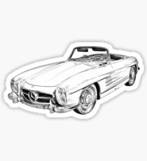 Mercedes Benz 300 SL Convertible Illustration Sticker