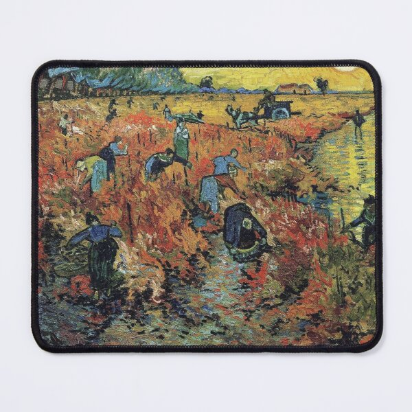 The Red Vineyards Oil Painting on Burlap by Vincent van Gogh Mouse Pad