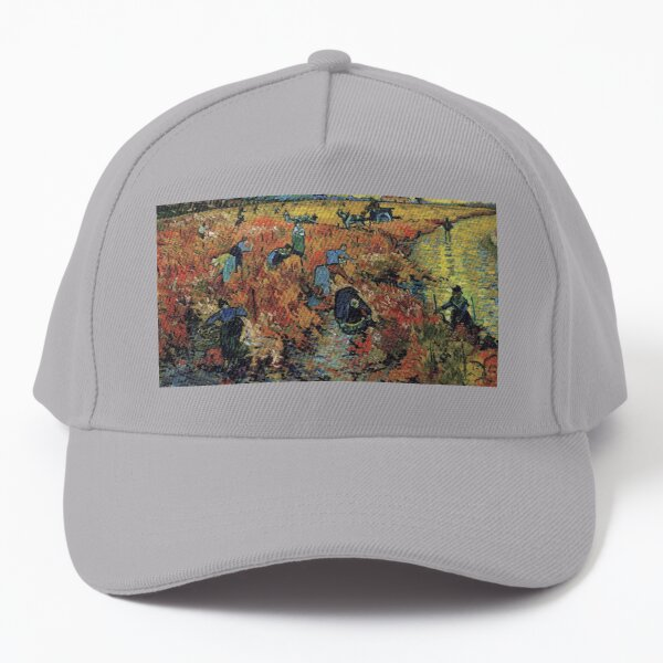The Red Vineyards Oil Painting on Burlap by Vincent van Gogh Baseball Cap