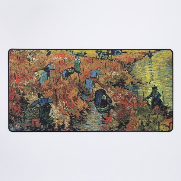 The Red Vineyards Oil Painting on Burlap by Vincent van Gogh Desk Mat