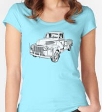 Old Flat Bed Ford Work Truck Illustration Women's Fitted Scoop T-Shirt