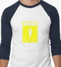 CAUTION is for pussies - single colour version Men's Baseball ¾ T-Shirt
