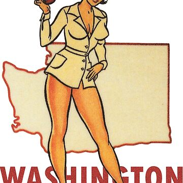 Washington WA State Pin-up Nurse Calcomanía de viaje vintage de hilda74