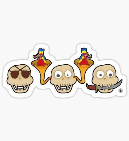 See, Hear, Speak no pirate skull monkey Sticker