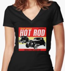 Hot Rod - Classic American Sports Car Women's Fitted V-Neck T-Shirt