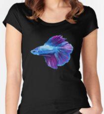 Emerald Blue Betta Siamese Fish Women's Fitted Scoop T-Shirt