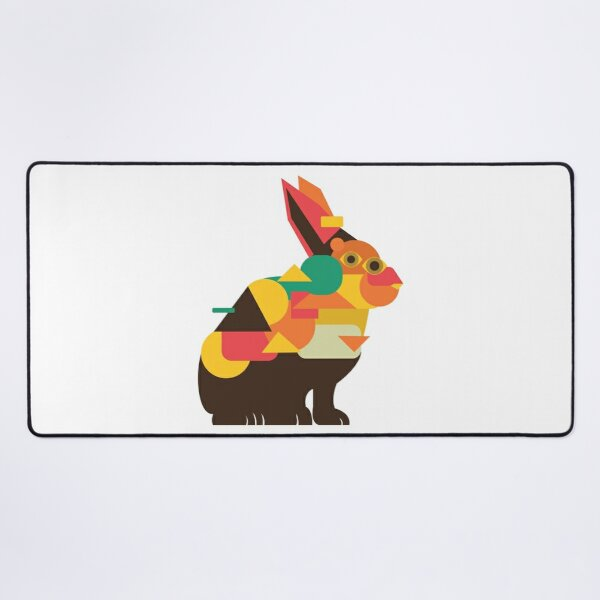 Rabbit Cubism Desk Mat