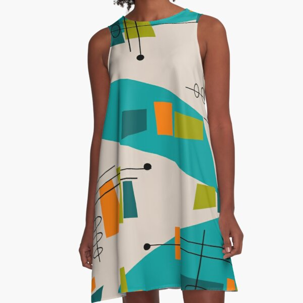 Mid-Century Modern Abstract Space Age A-Line Dress