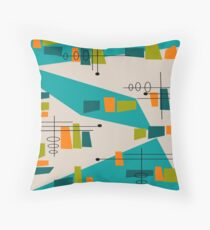 Mid-Century Modern Abstract Space Age Throw Pillow